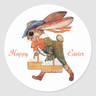 Fancy Dressed Lop Ear Bunny Rabbit and Egg Basket Round Stickers