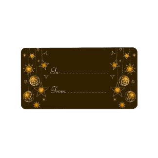Fancy Elegant Gold Yellow Christmas Decorations Ta Address Label