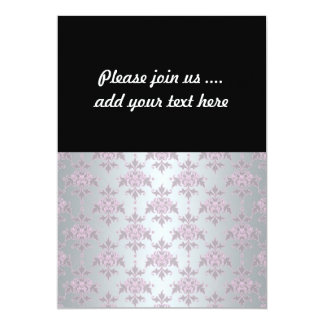Fancy Elegant Pink and Silvery White Damask 13 Cm X 18 Cm Invitation Card