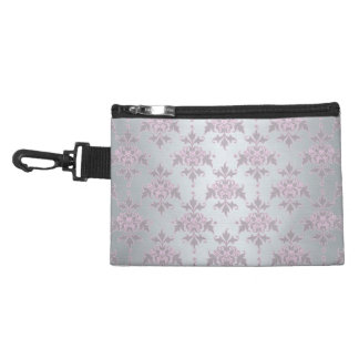 Fancy Elegant Pink and Silvery White Damask Accessory Bags
