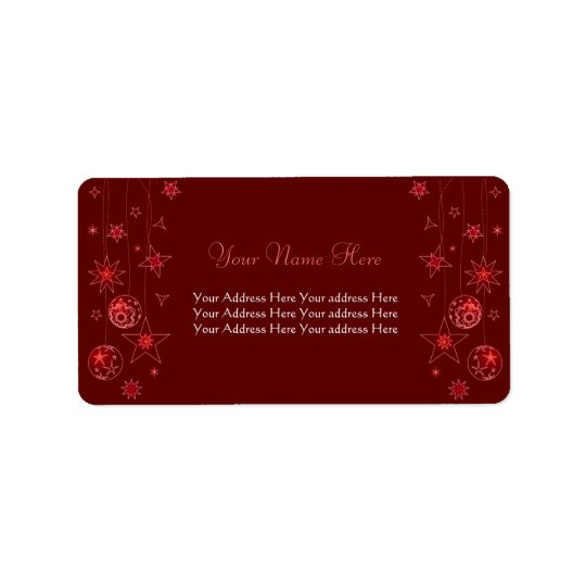Fancy Elegant Red Christmas Decorations Label