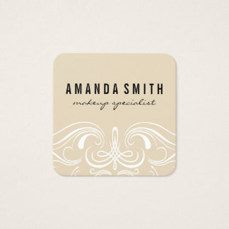 Fancy Elements Beige Square Business Card