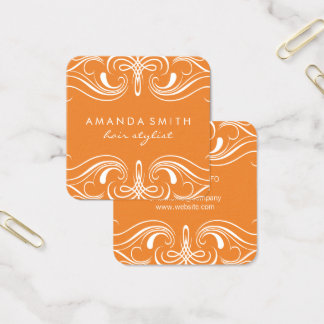 Fancy Elements Orange Square Business Card