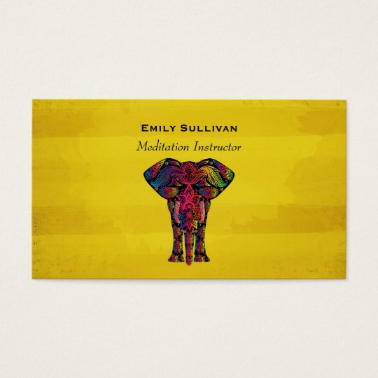 Fancy Elephant Design Bold Bright Colours Business Card