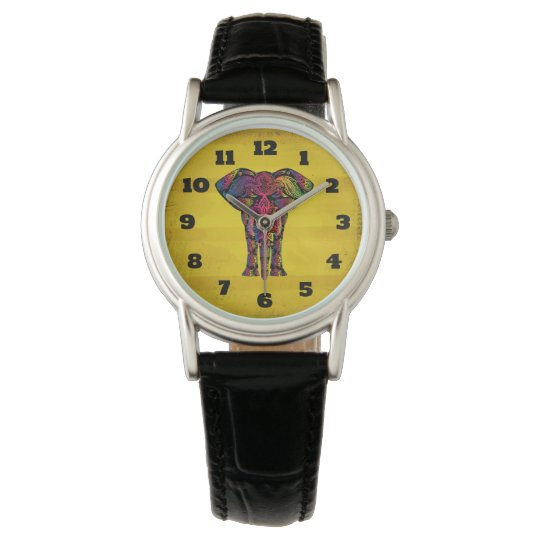 Fancy Elephant Design Bold Bright Colours Watches