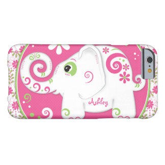Fancy Elephant Floral Pink Green Barely There iPhone 6 Case