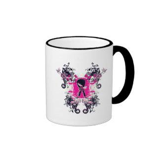 fancy emo girl kid with crossbone skull swirls coffee mugs