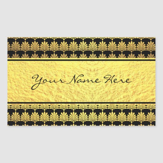 Fancy Faux Gold Art Deco with Name Rectangular