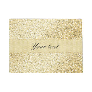 Fancy Faux Gold Glitter Personalized Doormat
