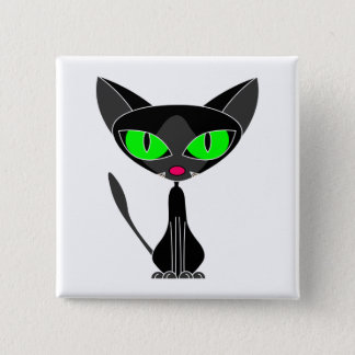 Fancy Feline Black Cat Button