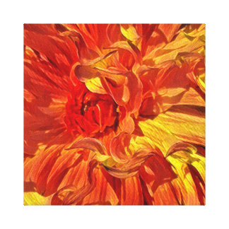 Fancy Fiery Orange Dahlia Canvas Print