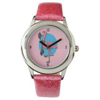 Fancy Flamingo Pink Glitter Watch