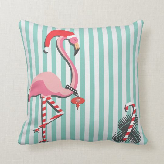 Fancy Flamingo Ready for Christmas Cushion
