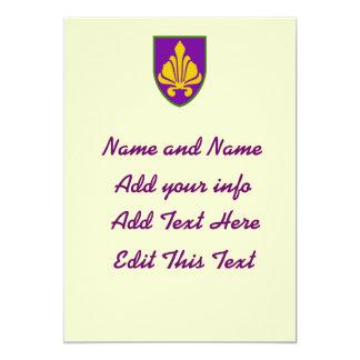 Fancy Fleur Shield,edit text 13 Cm X 18 Cm Invitation Card