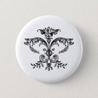 Fancy Fleurish BW 6 Cm Round Badge