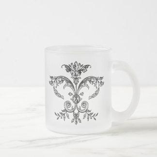 Fancy Fleurish BW Frosted Glass Mug