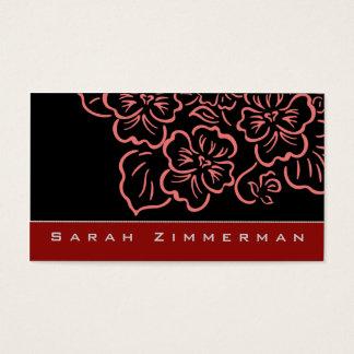 Fancy Floral Crimson Red Business Card