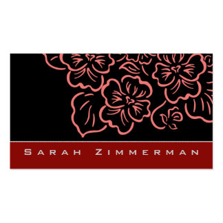 Fancy Floral Crimson Red Business Card