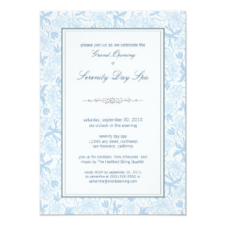 "Fancy Floral Grand Opening Invitation (sky) 5"" X 7"" Invitation Card"