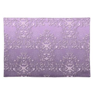 Fancy Floral Lavender Purple Damask Pattern Placemat