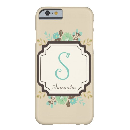Fancy Floral Monogram and Custom Name Barely There
