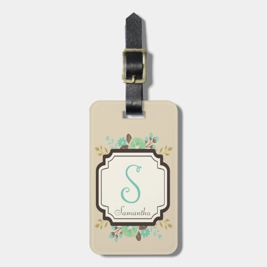 Fancy Floral Monogram and Custom Name Luggage Tag