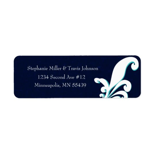 Fancy Floral Navy Return Address Label Modern Teal