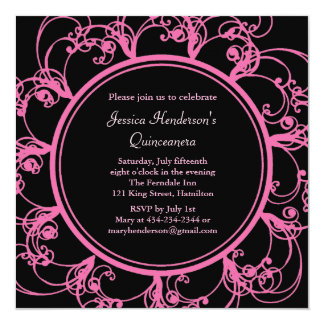 Fancy Floral Quinceanera Invite (black)