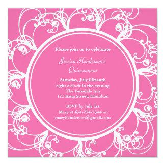 Fancy Floral Quinceanera Invite (fuchsia)