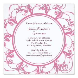 Fancy Floral Quinceanera Invite (pink)