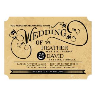 Fancy Floral Scroll Black & Tan Wedding Invitation
