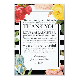 """Fancy Floral Wedding Place Setting Thank You Card 3.5"""" X 5"""" Invitation Card"""