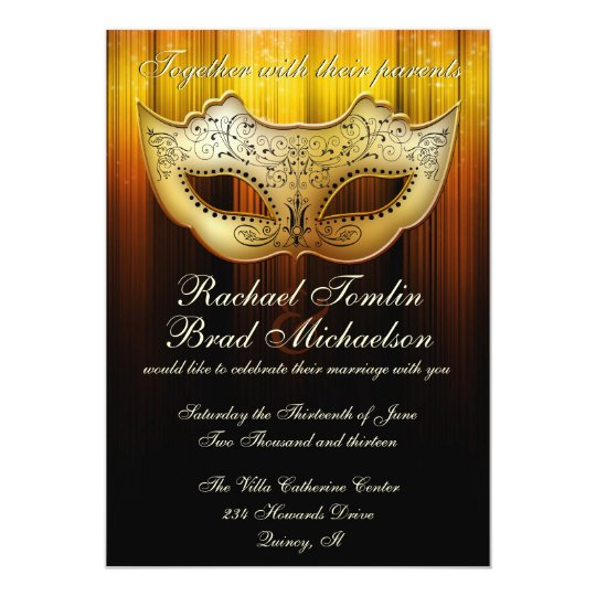 Fancy Flourish Gold Masquerade Wedding Invite