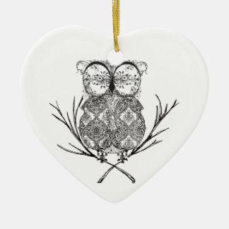 Fancy Flourish Owl Black and White Christmas Ornament