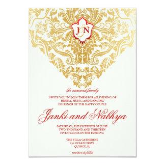 Fancy Flourishes Golden Indian Arabic Wedding 11 Cm X 16 Cm Invitation Card