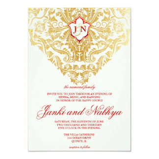 Fancy Flourishes Golden Indian Arabic Wedding 13 Cm X 18 Cm Invitation Card