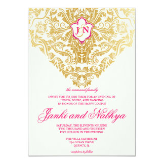 Fancy Flourishes Golden Indian Arabic Wedding Card