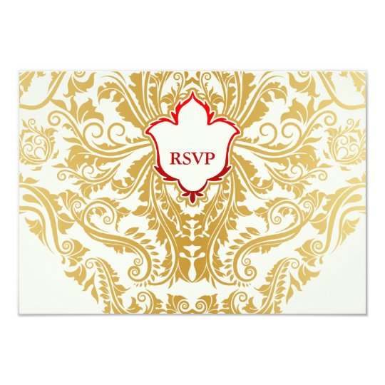 Fancy Flourishes Golden Indian Arabic Wedding Card