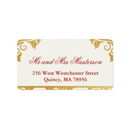 Fancy Flourishes Golden Indian Wedding Labes Label