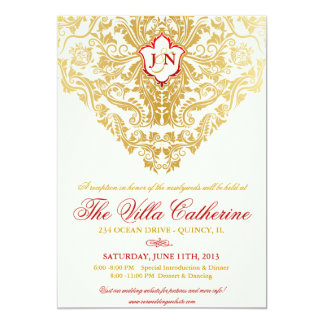 "Fancy Flourishes Golden Reception Only Invites 5"" X 7"" Invitation Card"