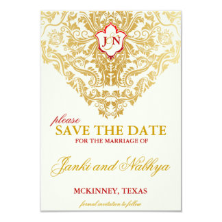 "Fancy Flourishes Golden Wedding Save the Dates 3.5"" X 5"" Invitation Card"