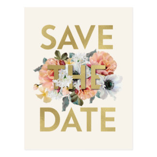 Fancy Flowers Save the Date Post Card