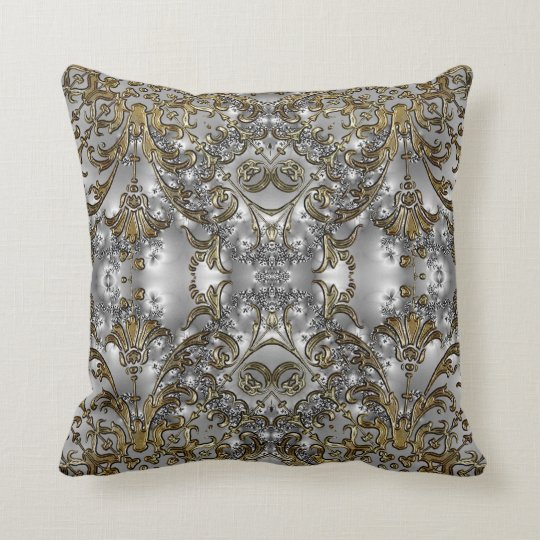 Fancy - Formal Carved Gold + Silver Throw