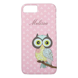 Fancy Funky Pink Owl iPhone 7 case