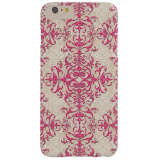 Fancy Girly Pink and Off White Damask Style Barely There iPhone 6 Plus Case
