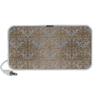 Fancy Gold and Grey Damask Pattern Mp3 Speakers