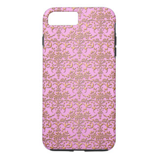 Fancy Gold and Pink Damask PatternFloral iPhone 7 Plus Case