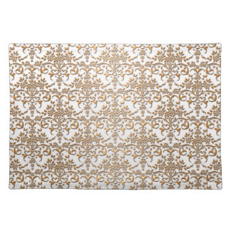 Fancy Gold and White Damask Pattern Placemat