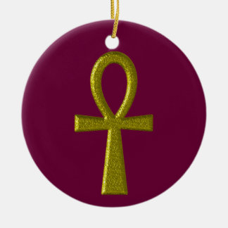 Fancy Gold Ankh Round Ornament
