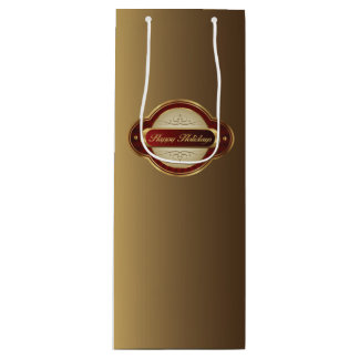 Fancy Gold & Burgundy Wine Gift Bag